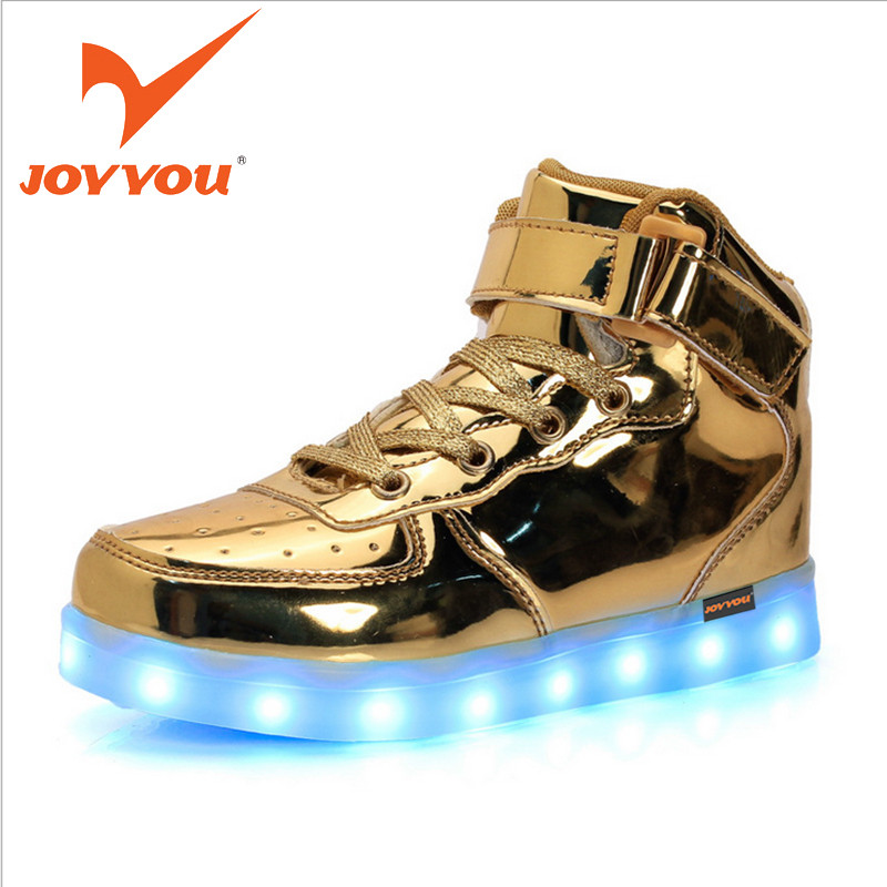 JOYYOU Brand USB Charging Teenage Led Kids Shoes With Light Up Led Boys Girls Luminous Sneakers Tenis Infantil School Footwear 25 40 size usb charging basket led children shoes with light up kids casual boys
