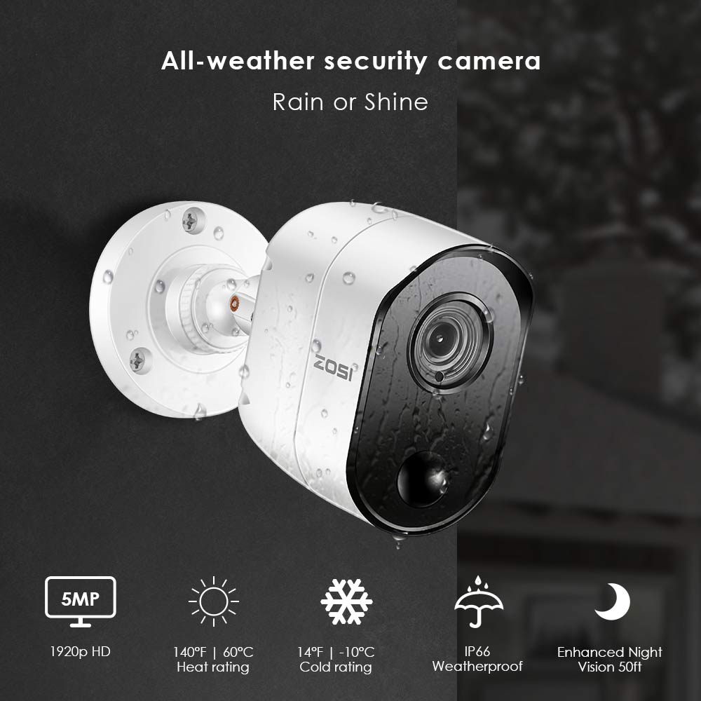 ZOSI 5.0MP H.265 Home Surveillance System 8 Kanal CCTV DVR mit HDD und (4) x 5MP PIR Outdoor/Indoor Sicherheit Kameras Kit