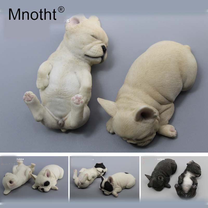 Mnotht Collections Toys 1/6 Scale French Bulldog Model Resin Animal Puppies Dog Sculpture For 12in Action Figure Toys Collection