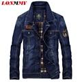 LONMMY M-4XL jaqueta De Remendo de Algodão 2016 Calças de Brim dos homens jaqueta Jeans casaco Cowboy jaquetas homem militar mens jaquetas e casacos