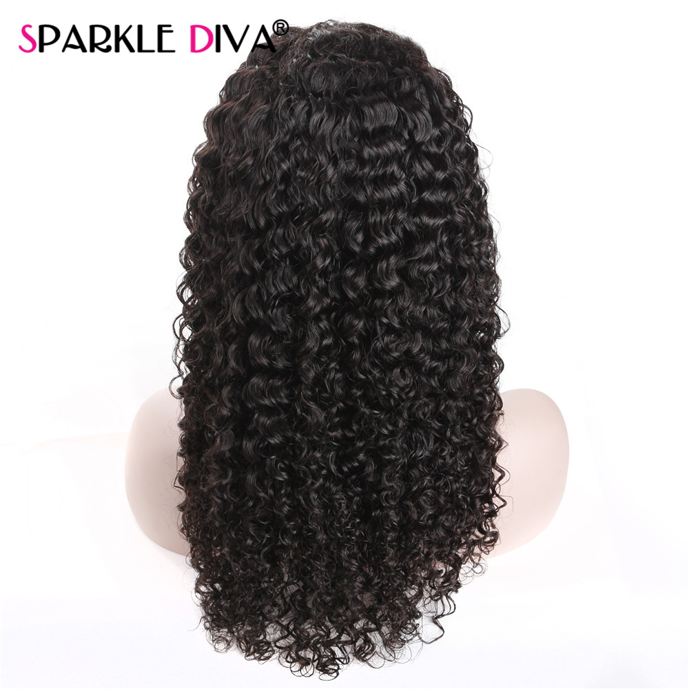 Natural Black Hair Line Curly Glueless Lace Front Human Hair Wigs For Women with Baby Hair Brazilian Remy Lace Wigs Sparklediva