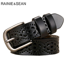 RAINIE SEAN Black Leather Belt Women Genuine Cow Hollow Western Simple Breathable Casual Real Ladies Trouser