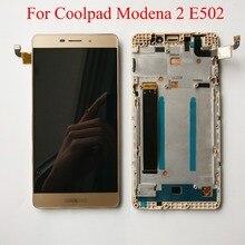 Yüksek Kalite Siyah/Beyaz/Altın 5.5 inç Coolpad Modena 2 Için E502 lcd ekran dokunmatik ekranlı sayısallaştırıcı grup Çerçeve Ile