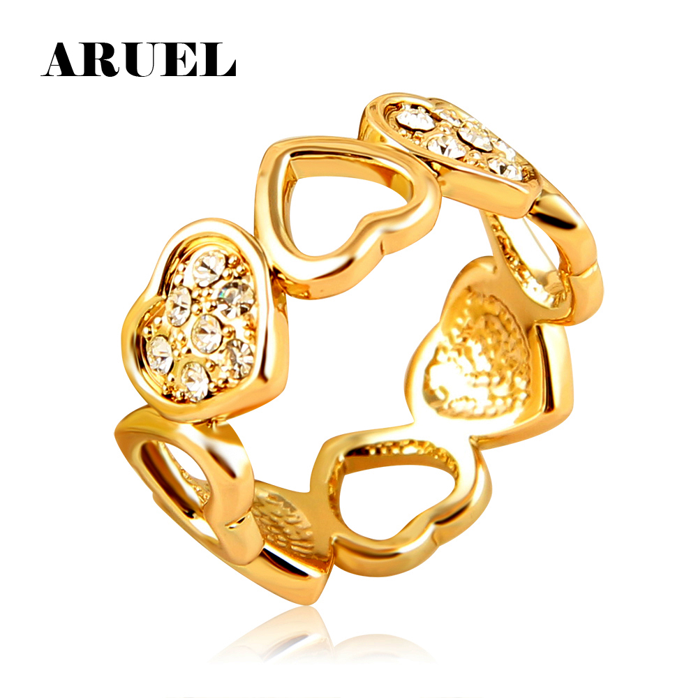 ARUEL Romantic Heart Rings For Women Gold Color Crystal Cubic Zircon Jewelry Female Ladies Valentines Gifts Finger Rings Ringen