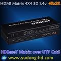 Hdbaset matriz 4x4 hdmi matrix suporte hdbt e ir controle remoto rs232 hdmi matrix 4 em 4 out 4x4 hdmi matrix com controle remoto