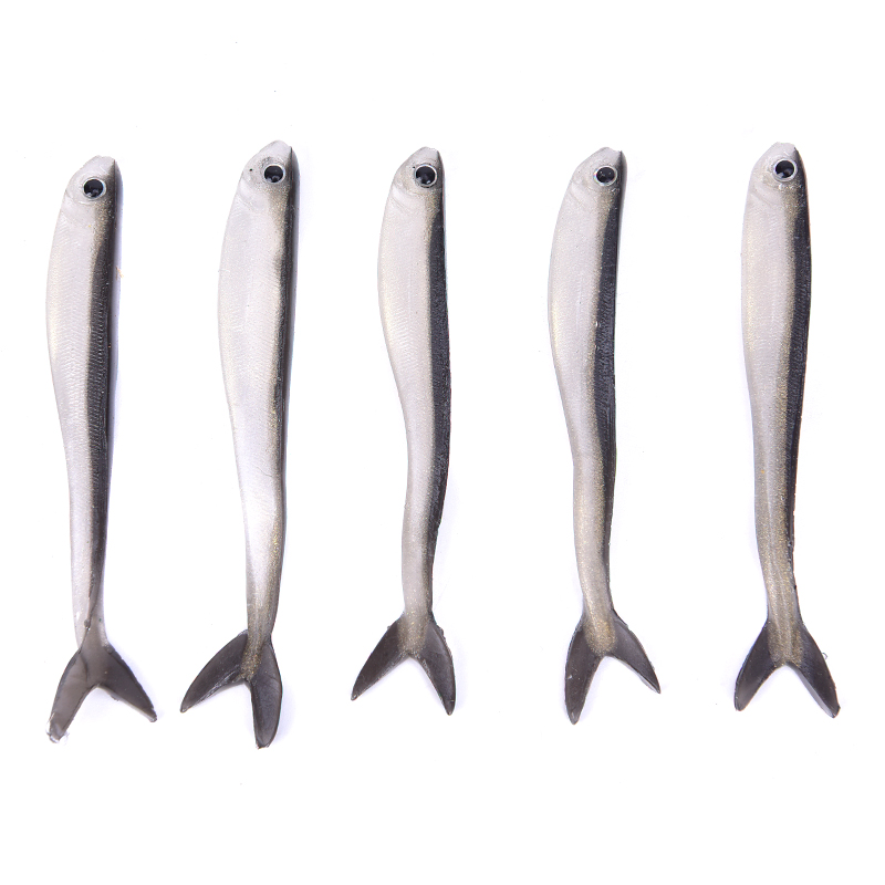 Soft Silicone Fishing Lure Minnow Artificial Bait Bass Tackle Jigs 8cm 10pcs