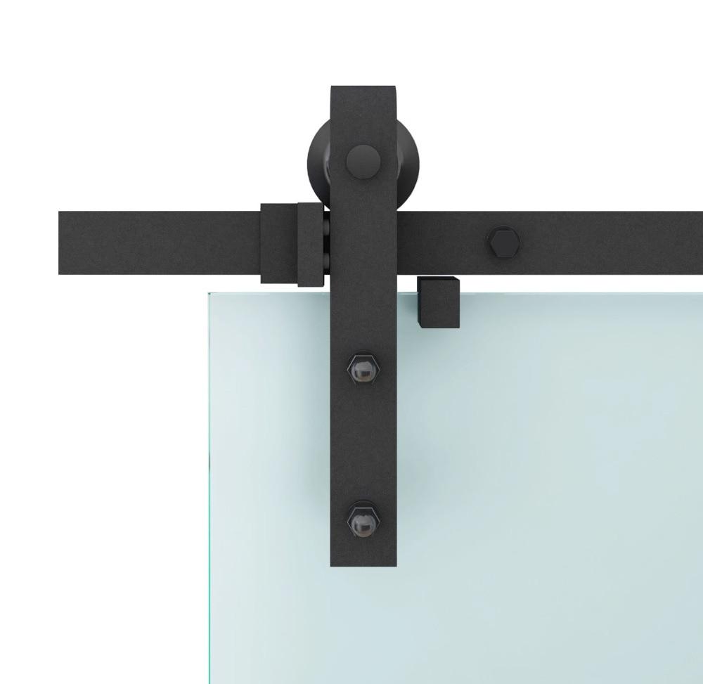 DIYHD 150CM-244CM Black rustic sliding barn glass door sliding track hardware interior glass sliding barn door hardware