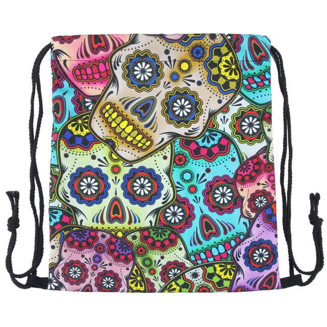 Colorful Skulls Printed Drawstring Bag