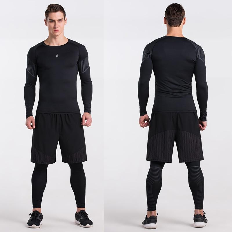 Erkekler Sıkıştırma Gömlek Spor Jogging Yapan Egzersiz Elbise - Erkek Giyim - Fotoğraf 4