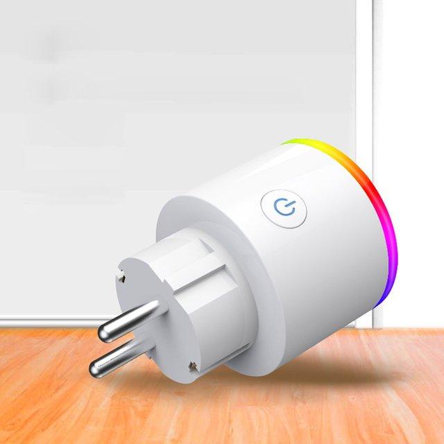 Inteligentna wtyczka Wifi gniazdo z przełącznik APP telefonu głos pilot zdalnego sterowania automatyki inteligentnego domu wyłącznik czasowy ściany wtyczka z LED RGB światła