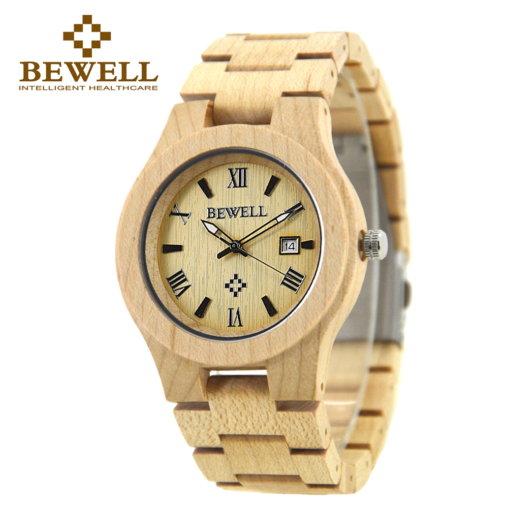 BEWELL Maple Wood Health Watches Top Brand Wooden Watch Japan Quartz Wristwatch For Mens Lover Best Gift with box 127A best for watch gift box classical mens