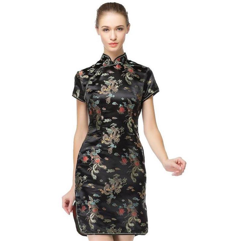 Vestido chino tradicional negro Satén Qipao Verano Sexy Vintage - Ropa de mujer