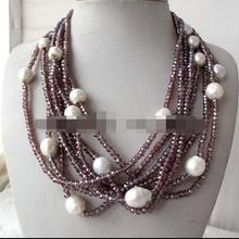 Красивый 8 прядей Фиолетовый Кристалл& белый жемчуг в стиле барокко ожерелье