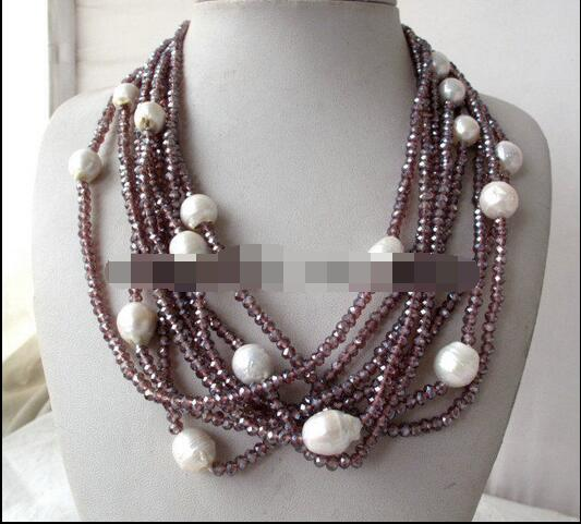 Beautiful 8Strands Purple Crystal&White Baroque Pearl Necklace цена