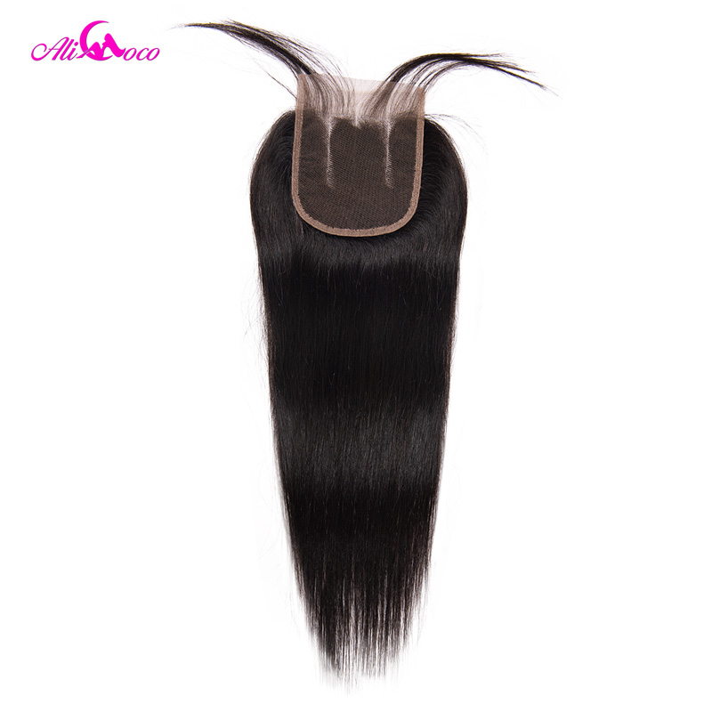 Ali Coco Hair Brazilian Straight Hair Lace Closure 4x4 Three Part Closure With Baby Hair 100
