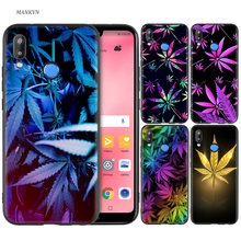 Silicone Case Cover for Huawei P20 P10 P9 P8 Lite Pro 2017 P Smart+ 2019 Nova 3i 3E Phone Cases Colorful Weed Leaf(China)