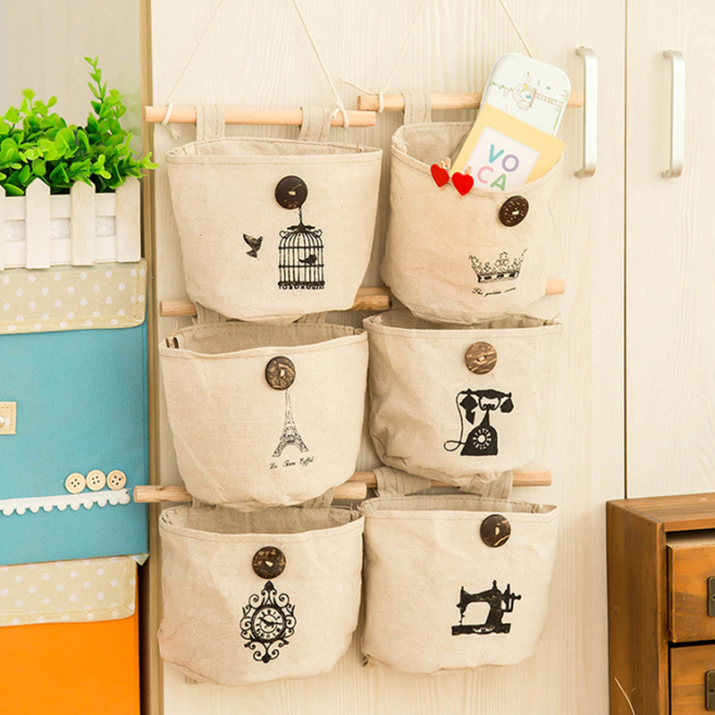 Fashion 1PC Wall-mounted Foldable Air Permeable Portable Reminiscent Cotton Linen Storag ...