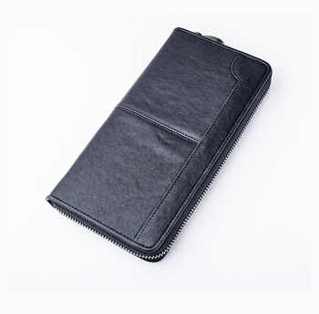 Genuine leather cow skin black long purse zip card holder for men - SALE ITEM All Category