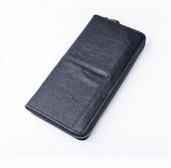 Vera pelle di mucca pelle nero borsa lunga zip supporto di carta per gli uomini