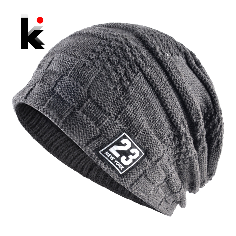 Winter Beanies Hat For Men Knitted Plaid Bonnet Caps Knit Double Layer Warm Touca Thick Skullies Velvet Gorros Mujer Invierno