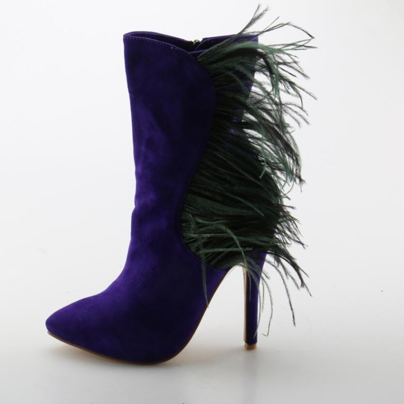 Fashionable Purple Fringe High Heel Boots Woman Pointed Toe Zip Feather Flock Shoes Solid Elegant Spring Autumn Ladies Boots creativesugar elegant pointed toe woman