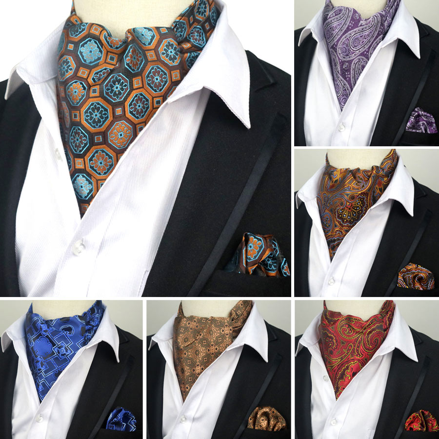 YISHLINE Vintage 100% Silk Men's Ascot Cravat Tie & Handkerchief Set Floral Paisley Pocket Square Tie Sets For Wedding Party