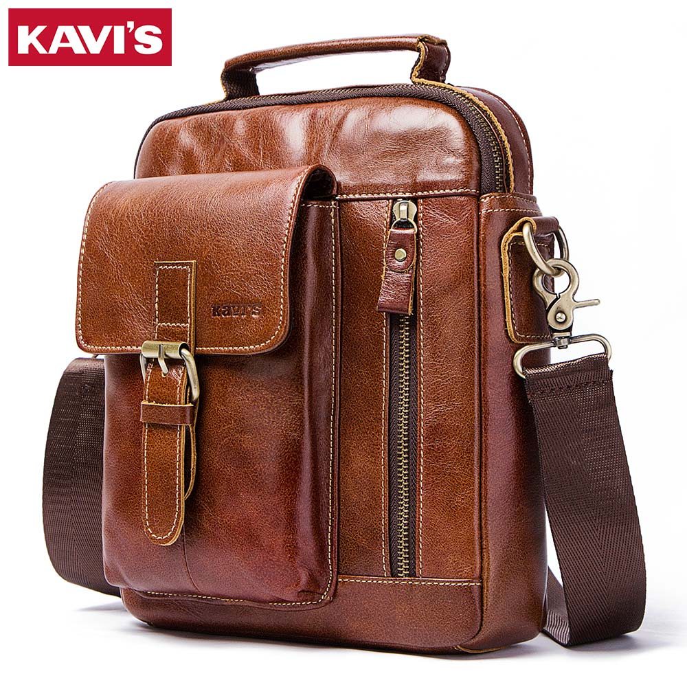 KAVIS 100% Real Cowhide Genuine Leather Messenger Bag Men Shoulder Bag Crossbody Handbag for Male Original Tac Pocket Clutch kavis 100