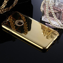 Luxury Bling Metal Skin Plating Hard Front Back Mirror Case For iPhone 7 6 6S Plus Case 360 Full Cover With Tempered Glass