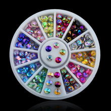 12 Color 3D Nail Art Tips Gems Crystal Nail Glitter Rhinestone DIY Nail Decoration Wheel Free Shipping