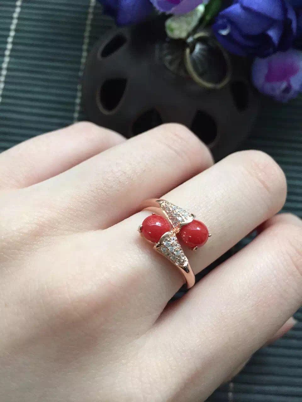on sale discount girls gift mum birthday present real 925 sterling silver natural red coral ring egg surfce 5*5mm