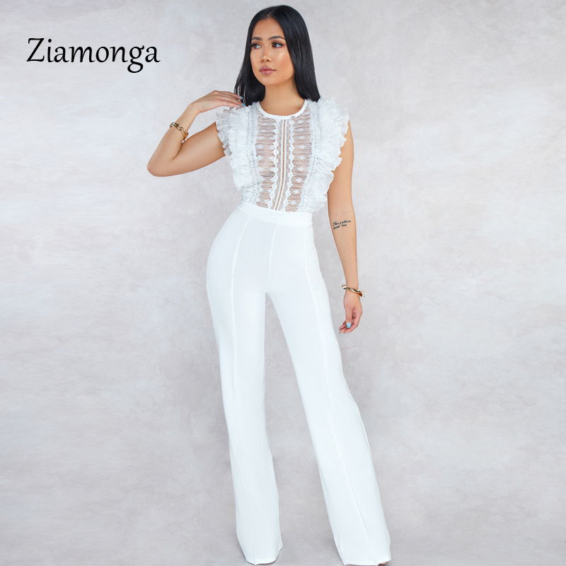 HTB18Zt0bbj1gK0jSZFuq6ArHpXap - Ziamonga Women Sexy Jumpsuits Patchwork Lace Mesh Ruffles See Through Transparent Slim Bodysuits Overalls Long Pants Outfits