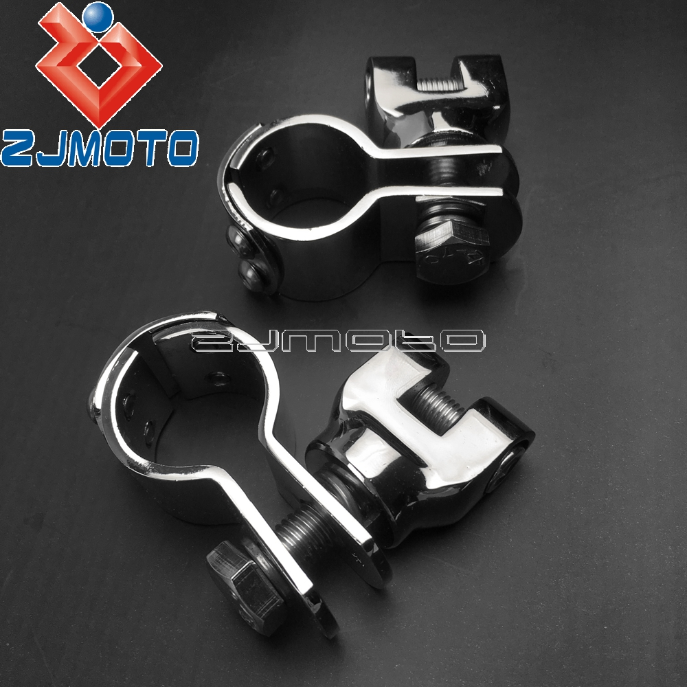 Motorcycle 1 1 2 Highway Crash Bar Footrests Adapters Chrome 38mm Engine Guard Peg Mount Clamps