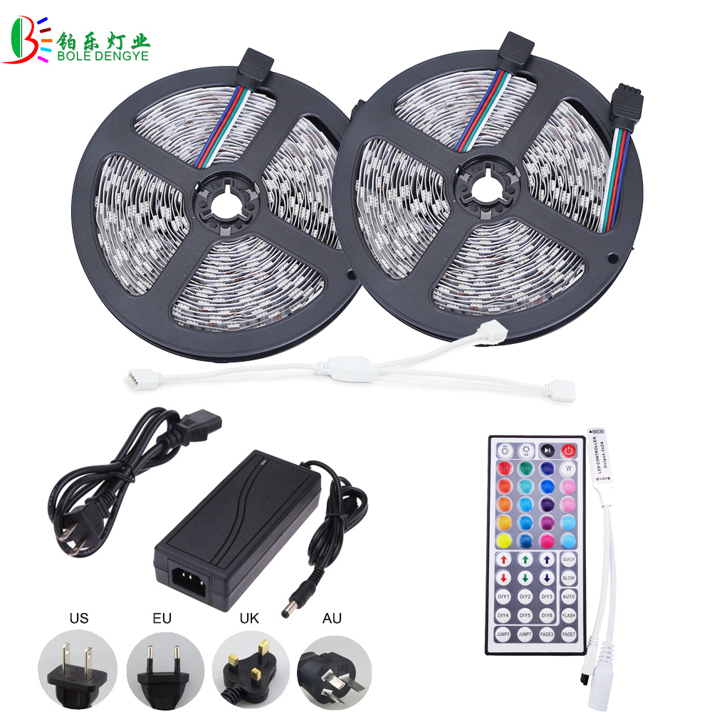 5050 10M RGB LED Strip Waterproof IP65 Flexible Diode Tape Light +Wifi LED Controller 44Key IR Remote Phone Control LED Adapter