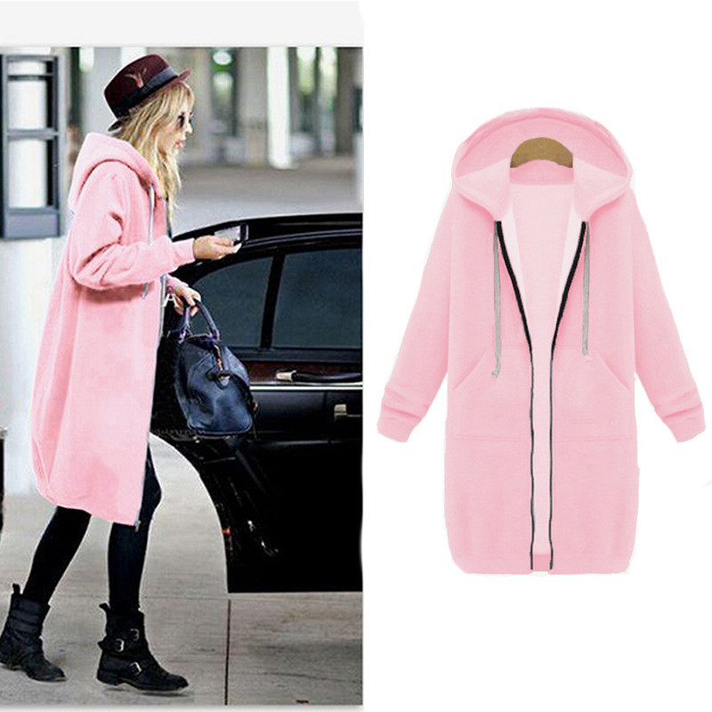 Winter Long Coat Women 2019 Fashion Hooded Solid Color Plus Velvet Sweater Jacket Slim Fit Laides Sports Zipper Jackets AN1112 image