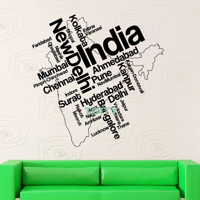 wall stickers vinyl decal india map new delhi atlas country travel