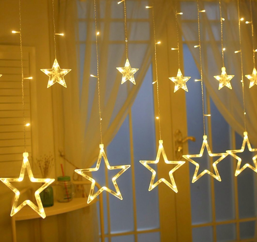 220V EU Plug Star Curtain LED String Fairy Lights Indoor/Outdoor Decorative Lamp For Christmas Holiday Wedding Party lighting 2018 3m 220v 20pcs car models night lamp kid children room decor paper string lighting holiday lights eu uk plug luminaria