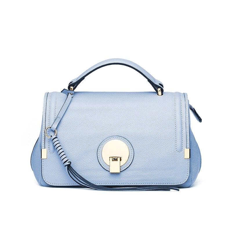 LOEIL Women's bag handbag tassel solid color first layer leather handbags slung shoulder bag pink solid color off shoulder crop bodycon sweaters vests