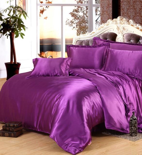 purple silk comforter sets satin bedding set sheets duvet cover bedspread linen king size queen. Black Bedroom Furniture Sets. Home Design Ideas