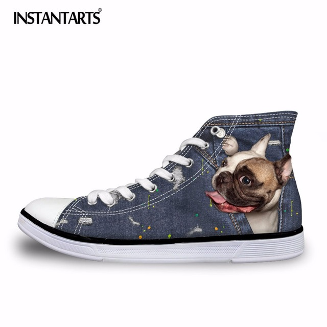 INSTANTARTS Female Cute French Bulldog Frenchie Casual Vulcanize Shoes Women 3D Denim Pocket Animal High Top Canvas Shoes Woman