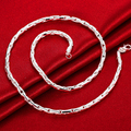 """Lostpiece 2017 New Trendy Men's 925 Sterling Silver Chain Necklace 4mm 20"""" Wholesale Fashion 925 Silver Jewelry LSPN059"""