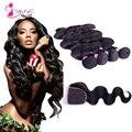 7А Необработанные Бразильского Виргинские Волос Объемной Волны с Закрытием MS Cat 4 связки с Кружевом Закрытие Бразильской Человеческие Волосы Королева волос