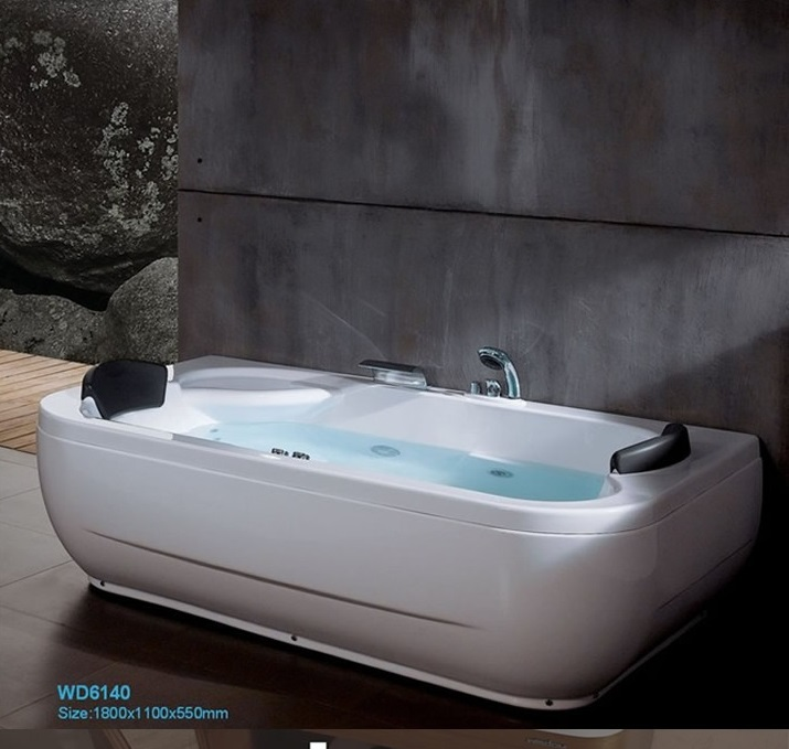 fiber glass acrylic double people whirlpool bathtub left apron tub nozzles spary jets spa rs6140 - Whirlpool Bathtub