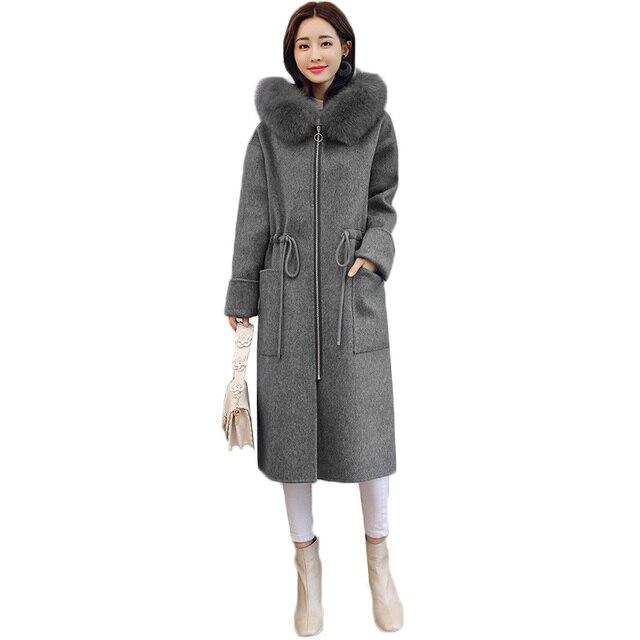 6d4652ea6 Women woolen coat 2019 winter jacket ladies woolen coat women hooded fur  collar long fashion loose