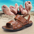 Summer Men's Sandals Leather Sandals Male Breathable Casual Sandals 2016 New Korean Men's Tide Beach Slippers Free Shipping