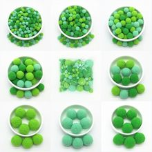 Pompon boules de fourrure vertes mixtes, bricolage pompons souples artisanat décoration de mariage colle sur tissu accessoires 8mm à 30mm 20g