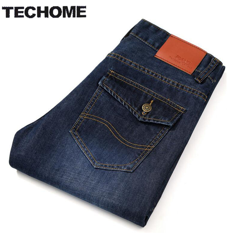 TECHOME New 2016 Jean Mens Pants Men's Jeans Men trousers Mid Waist Straight Business Casual Style Size jeans homme Plus Size 22 2017 autumn new fashion pencil mens skinny jeans trousers stretch jean homme mid waist denim pants men casual jeans hommes