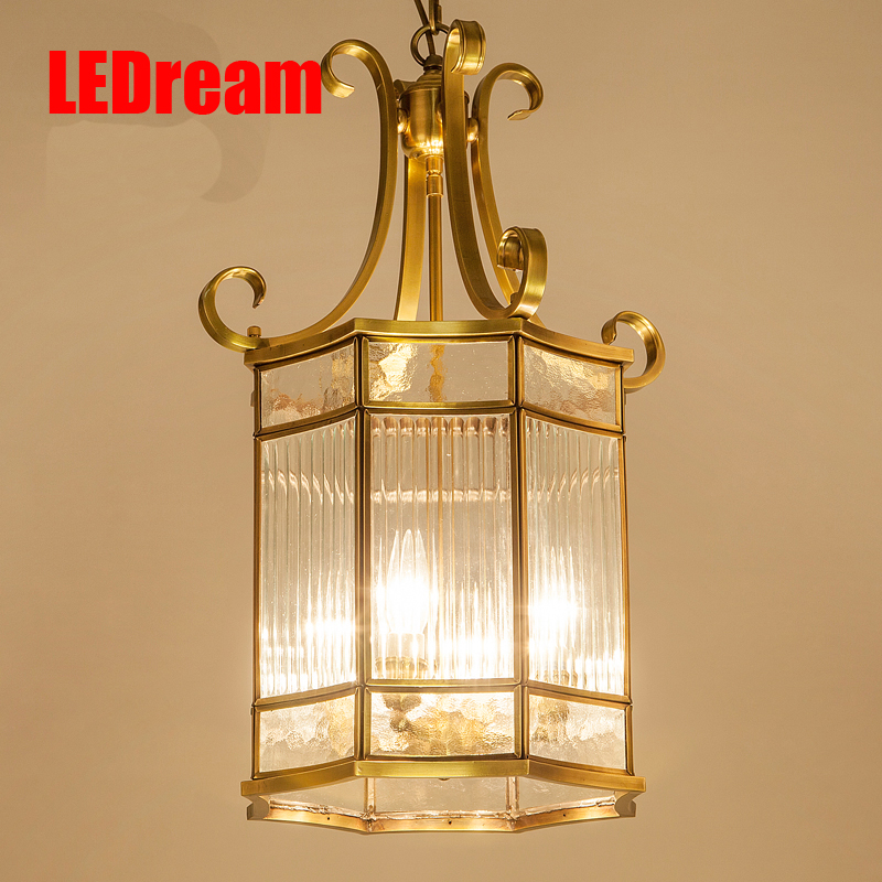 American country pure copper crystal romantic luxury villa sitting room dining-room bedroom study lamp