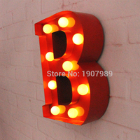 9 RED Metal Letters Light LED Alphabet Marquee Sign Vintage Metal Letter Signs Light Indoor Wall