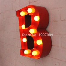 9″ RED metal Letters light LED alphabet Marquee Sign Vintage metal letter signs light Indoor wall Deration customize order