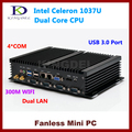 Industrial mini pc desktop Intel Celeron 1037U CPU Dual core, 2 GB RAM 320 GB HDD 2*1000 M LAN, 4 * COM, 2 * USB 3.0, 300 M WiFi, HDMI